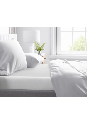 Cotton satin Fitted Sheet Primavera Deluxe White
