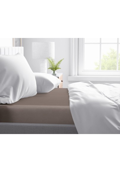 Cotton satin Fitted Sheet Primavera Deluxe Taupe