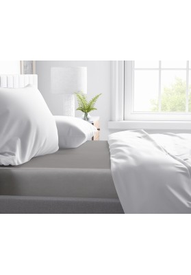 Cotton satin Fitted Sheet Primavera Deluxe Grey