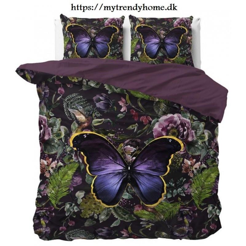 sengelinned Mosani Turquoise blade og blomster mønster med sommerfugl