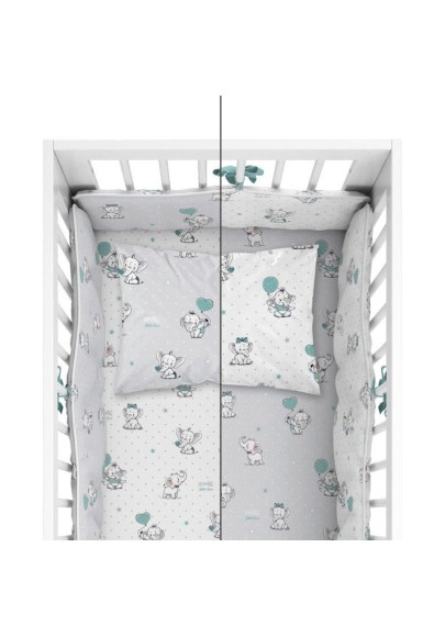 Bedding with protective bumper Cute Elephants  Mint