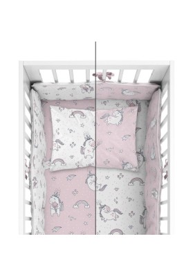 Bedding with protective bumper Unicorn Pink