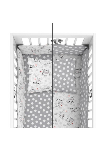 Bedding with protective bumper Little Cats Grey
