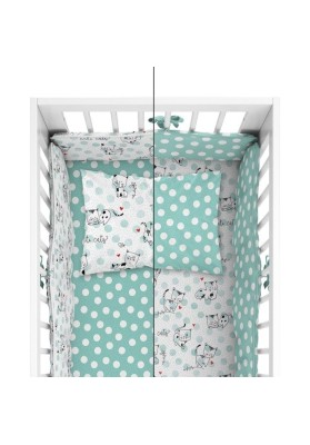 Double sided bedding + bumper Little Cats Green - MyTrendyHome.dk