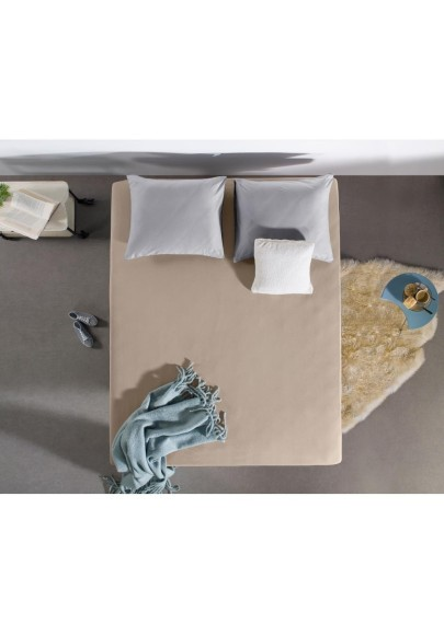 Flannel Fitted Sheet  Soft Touch Taupe