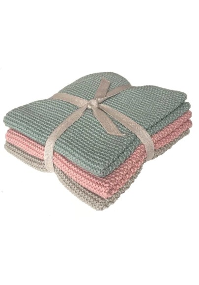 Knitted crochet cloth in pearl knit 3-pack Merry Christmas